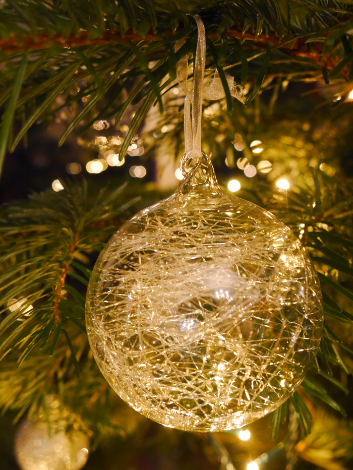 stringy glass bauble