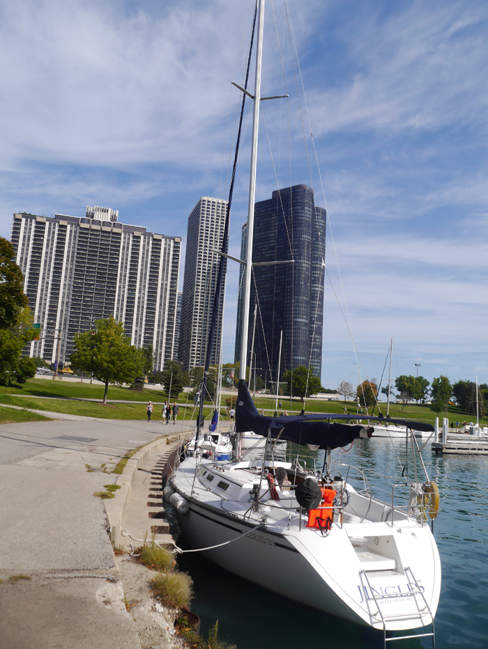 Walking along the marina Chicago