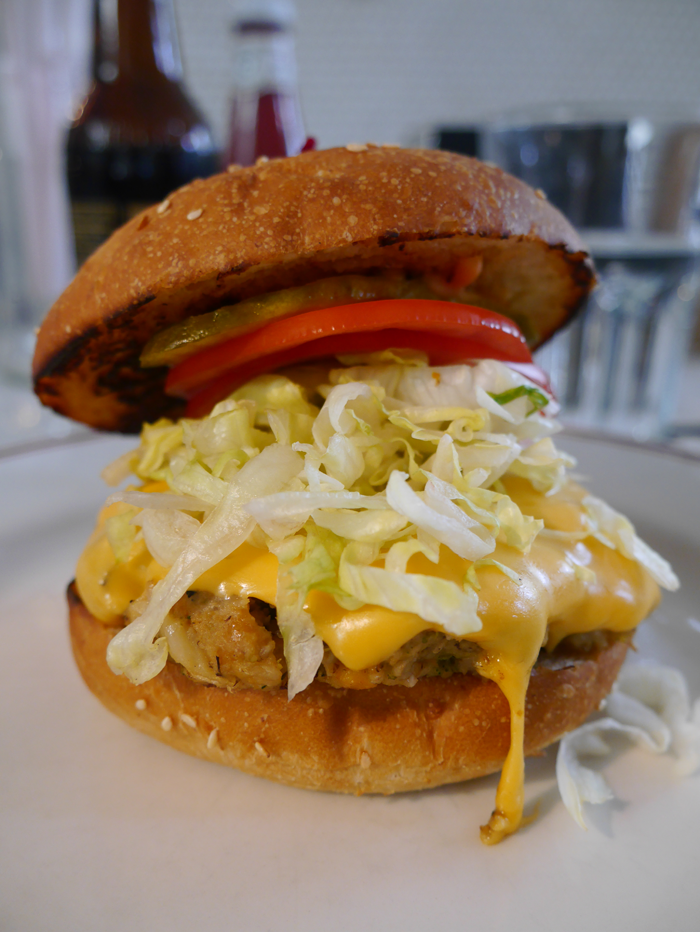 Veggie burger at the Little Goat Diner