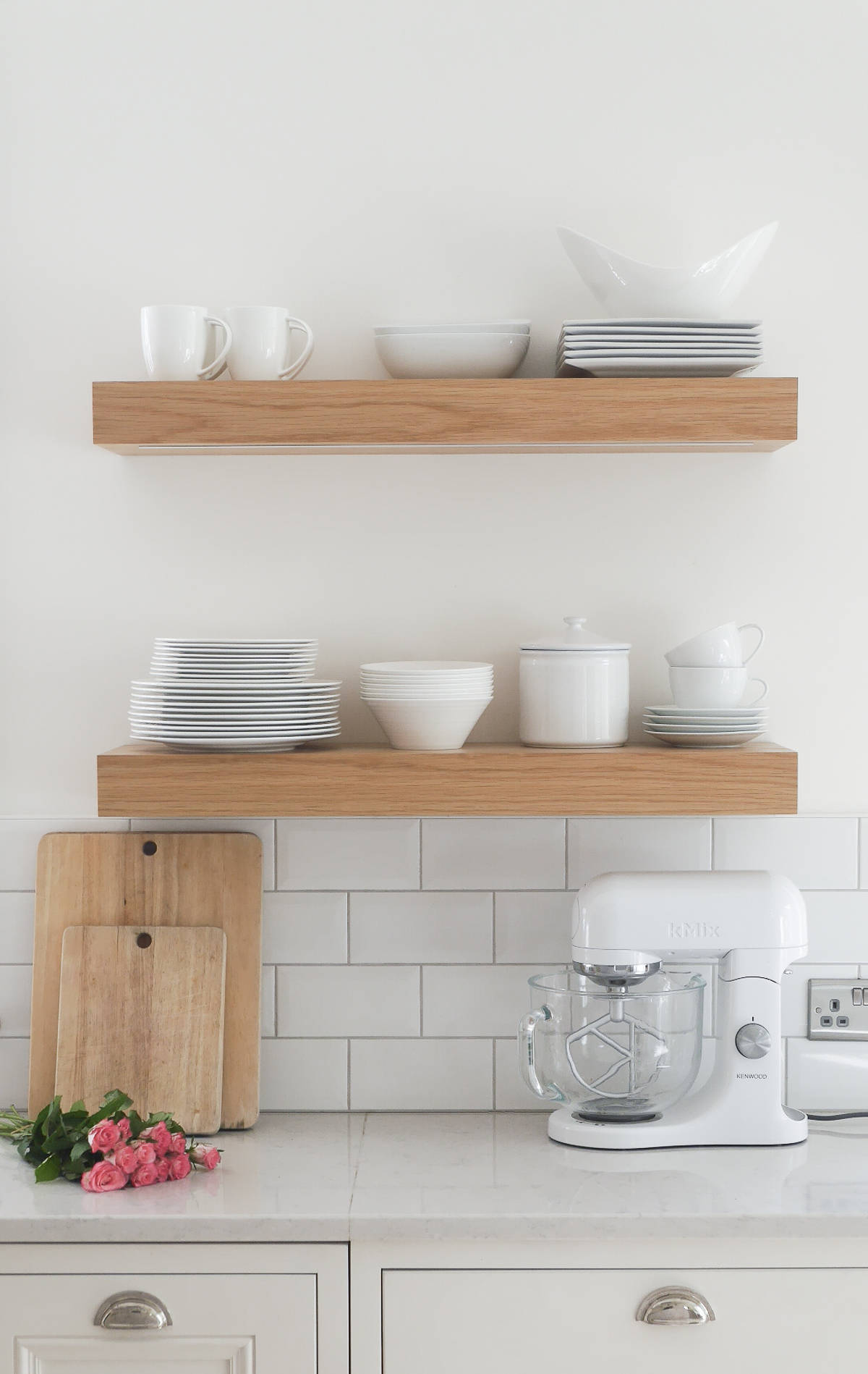 3 ways to style open kitchen shelves the green eyed girl for Shelving in kitchen