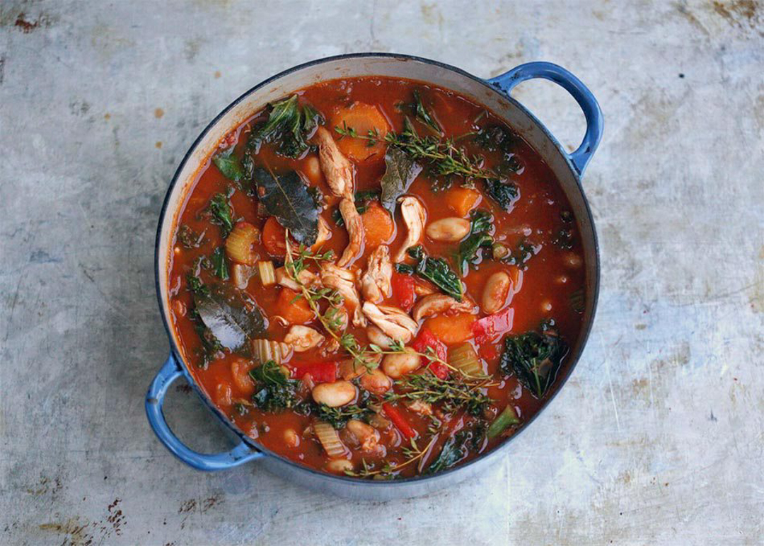 Healthy winter recipes - chicken, kale and bean stew