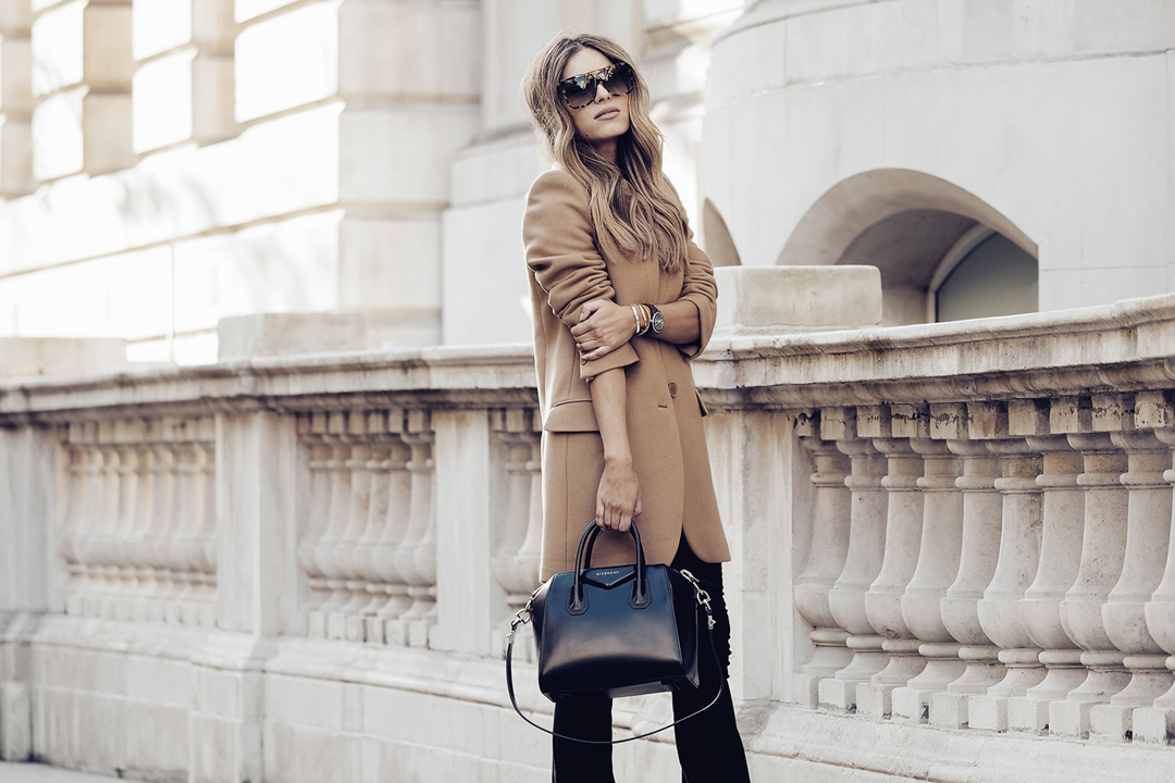 Beige interiors - Camel coat on Lydia E Millen