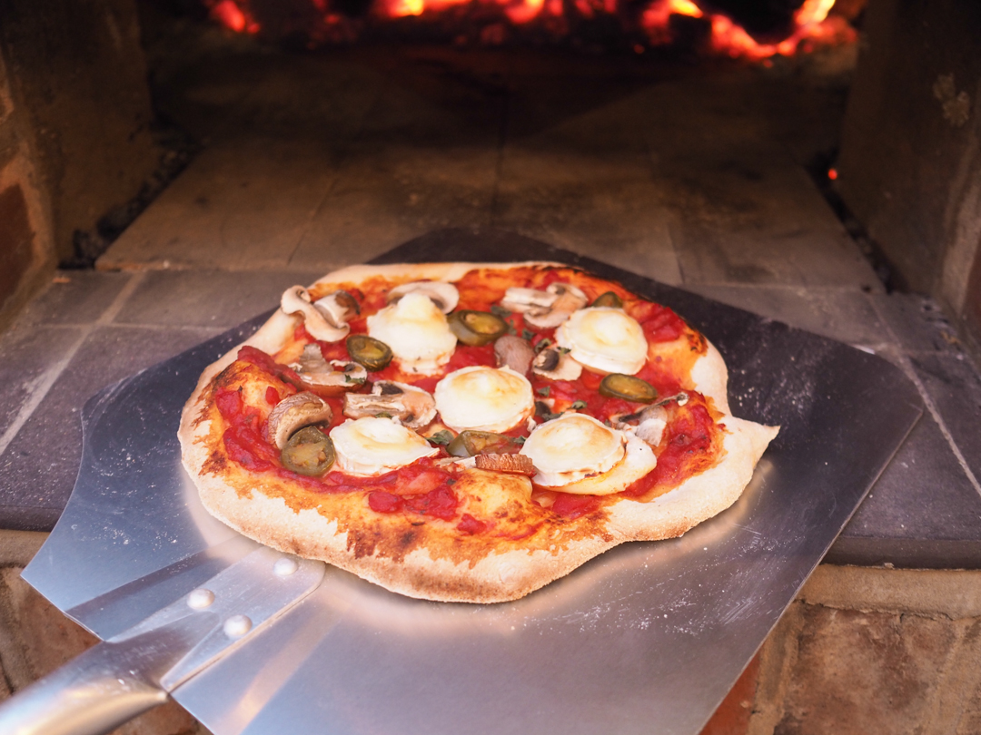 Fresh pizza from our wood fired pizza oven