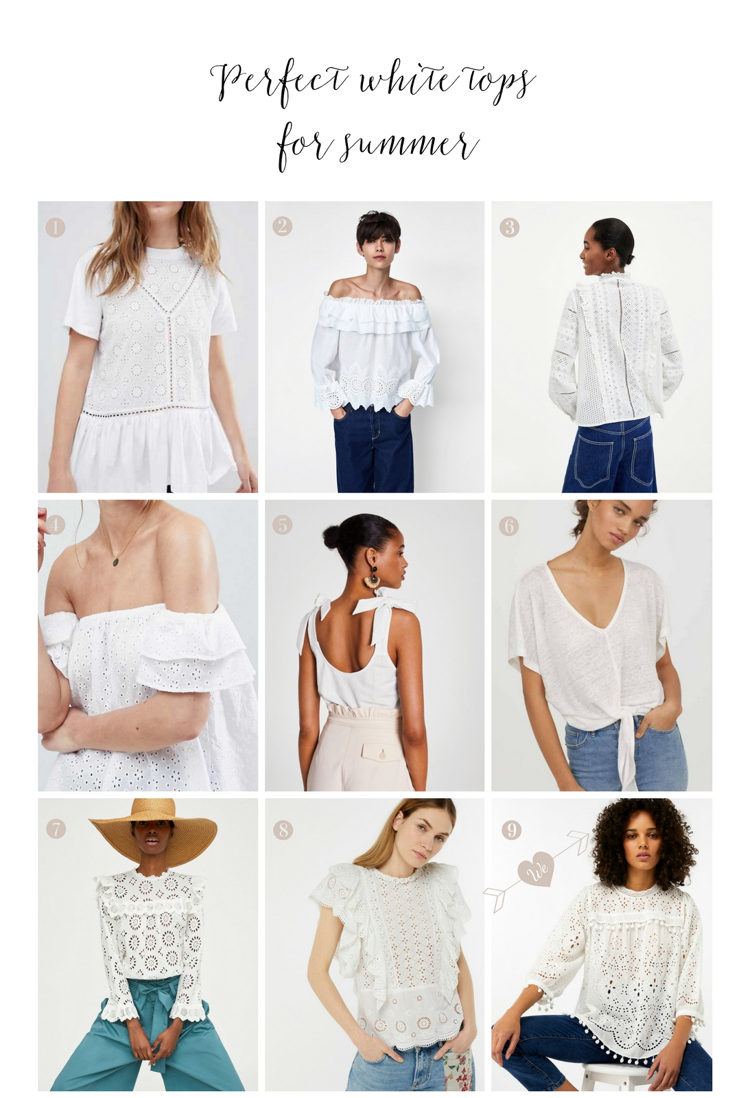 9 pretty white tops for summer
