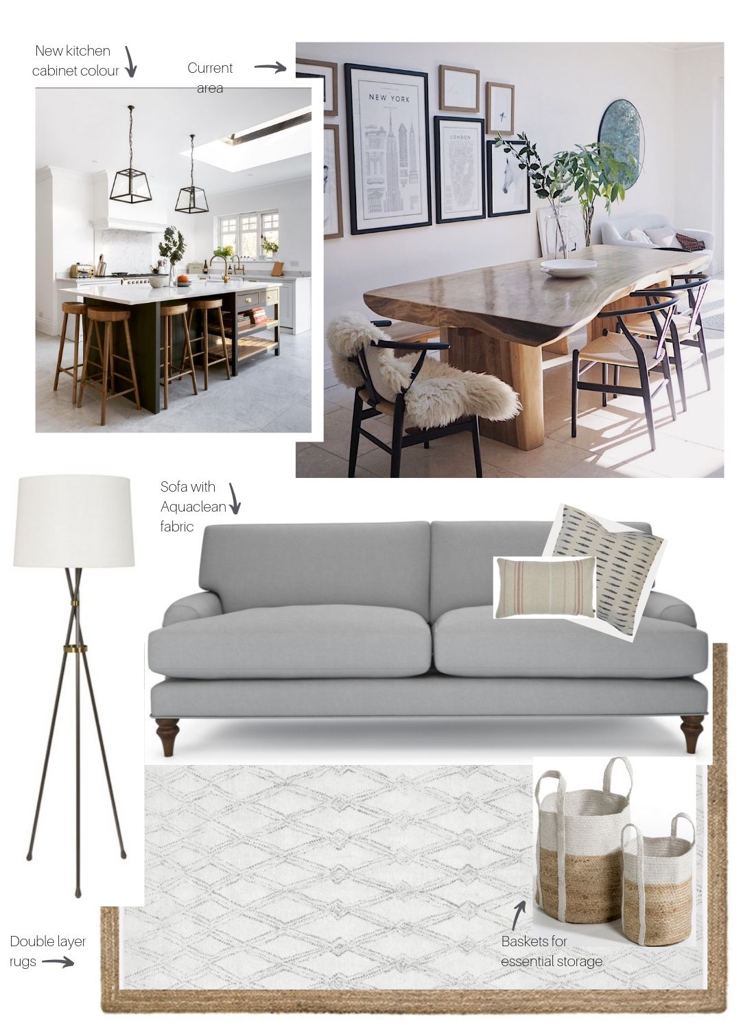 Moodboard for revamp of my kitchen living area