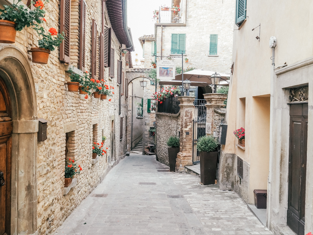 The streets of Montone, Umbria in Italy