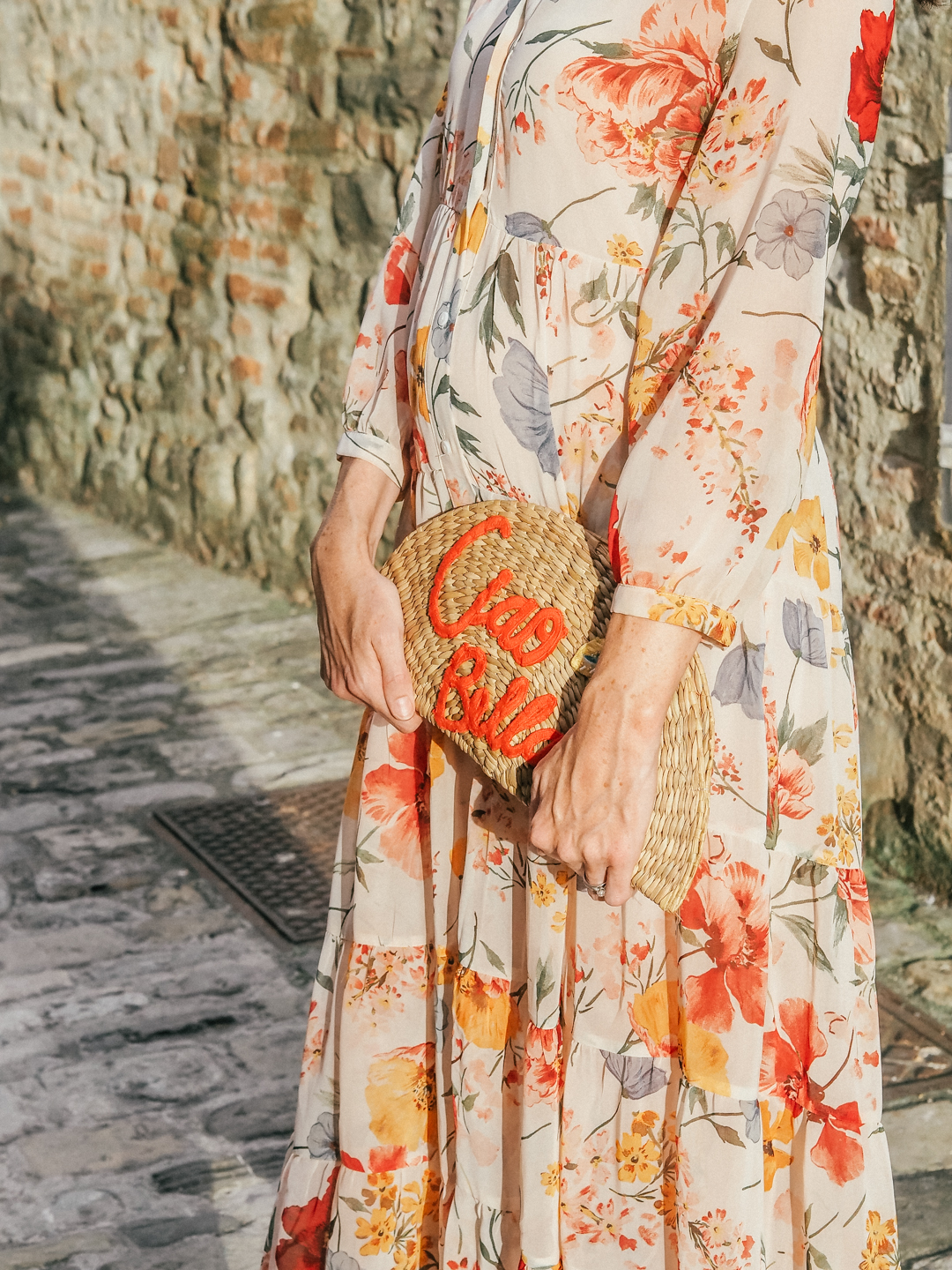 Floral dress and Ciao Bella bag