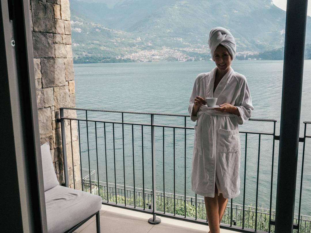 The balcony at the apartment at Hotel Filario, Lake Como